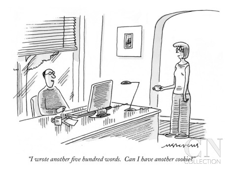 Order a 12 x 9 inch print at http://www.condenaststore.com/-sp/I-wrote-another-five-hundred-words-Can-I-have-another-cookie-New-Yorker-Cartoon-Prints_i8544652_.htm