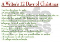 writers_12_days_of_christmas_modern_wall_clock