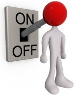 Royalty-free 3d computer generated people clipart picture image of a white person with a red head attached to an on/off switch lever, set to on.
