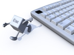 18160736 - escape key run away from a keyboard. 3d illustration