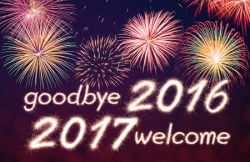 62267036 - goodbye 2016 welcome 2017 written from sparkle firework with firework background