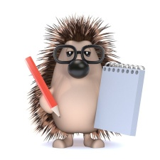 porcupine with writer's block holding pen and empty notebook