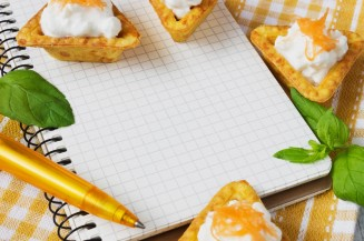 snack notebook pen appetitzer canape © Can Stock Photo saharosa39 canstockphoto24422843