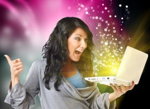 surprise glitter computer happy writer laptop © Can Stock Photo Amaviael canstockphoto8211148
