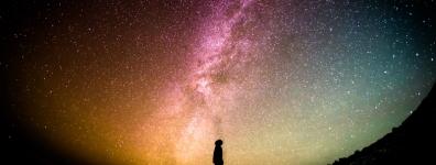 man starring at cosmos
